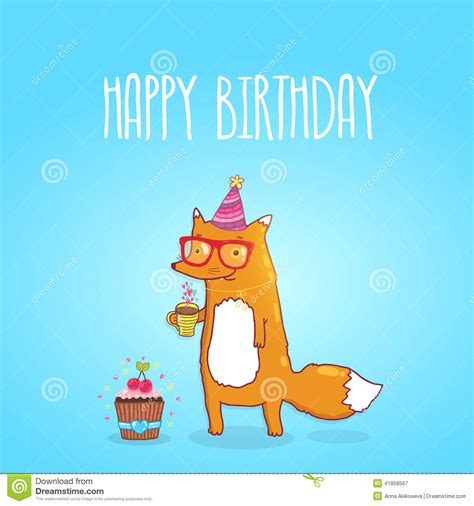 happy birthday card with hipster fox stock vector image