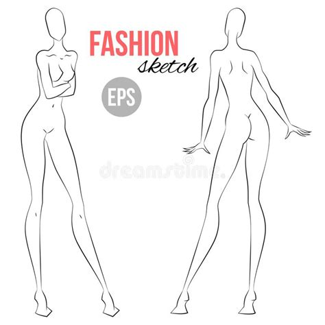 fashion illustration templates front and back front and back view poses for fashion sketching vector