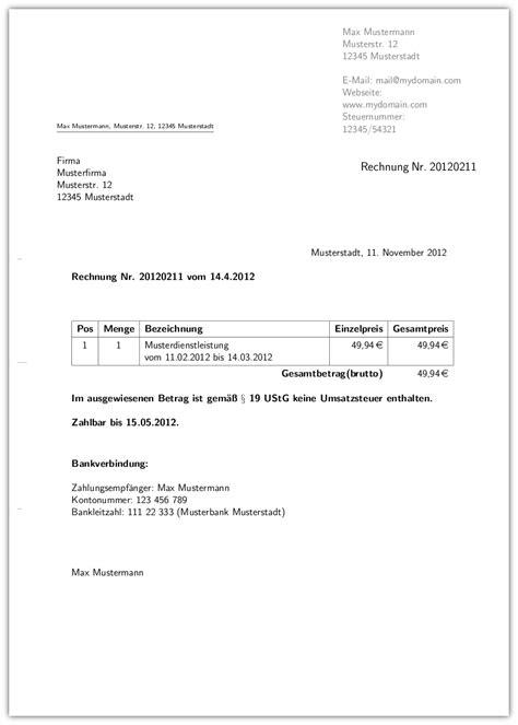 Rechnung Inhalt Kleinunternehmer Vorlage F 252 R Rechnungen Stefan Karg