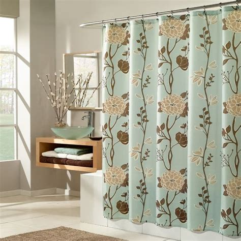 brown floral shower curtain cassandra blue and brown floral fabric shower curtain by m