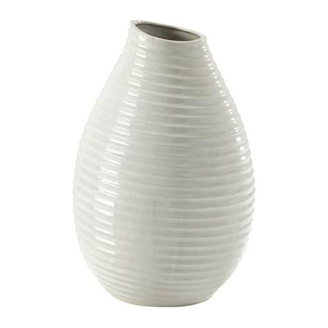 vaso bianco vaso bianco in ceramica h 49 cm silke maisons du monde
