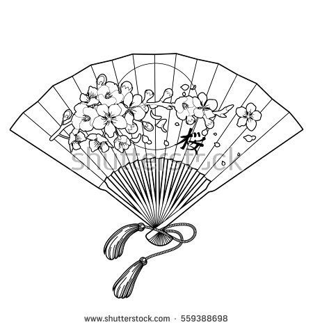 hand fan traditional japanese sakura design stock vector