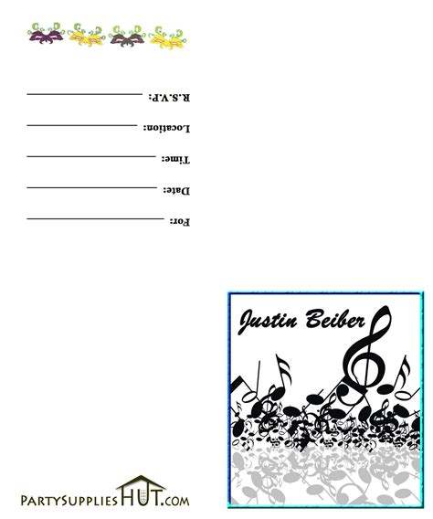 esarletse justin bieber templates invitations free printable