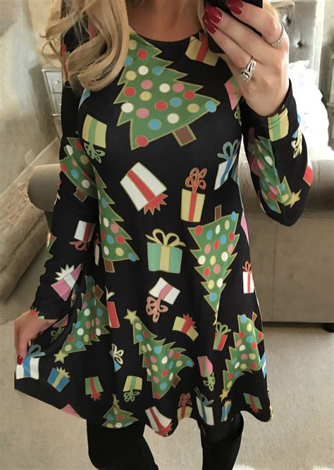 christmas printed long sleeve dress fairyseason