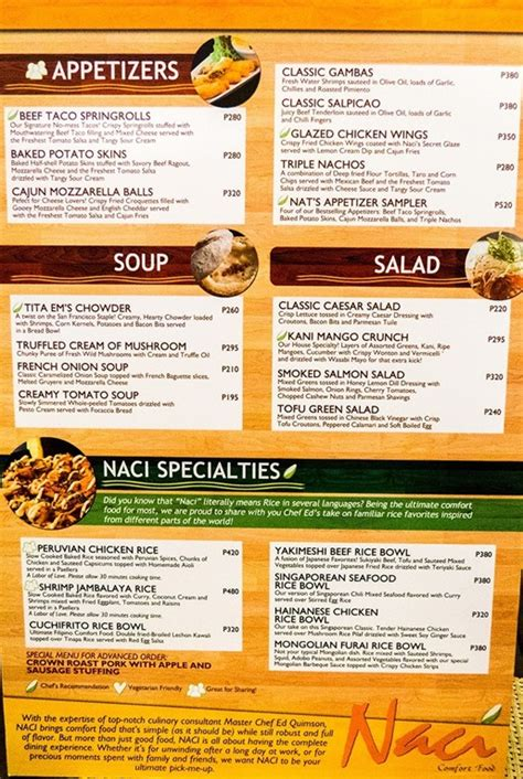 comfort cafe menu naci comfort food at bonifacio global city