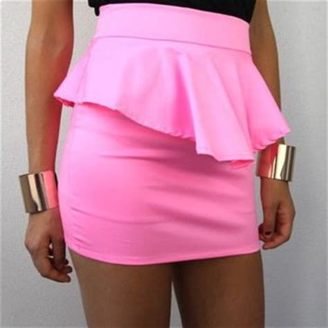 neon pink high waisted peplum pencil from spsboutique