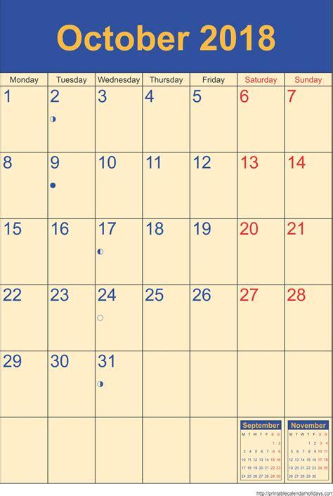 Calendar October 2017 To May 2018 October 2018 Calendar Template Monthly Calendar 2017