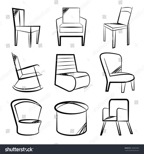 Sketch Chair Icons Set Sofa by Sketch Chair Icons Set Sofa Set Stock Vector 186065903