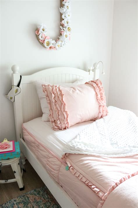 light pink ruffle bedding girls shared bedroom why we love our blush pink ruffle