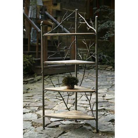 Wrought Iron Corner Bakers Rack by Wrought Iron Rustic Pine Corner Bakers Rack By