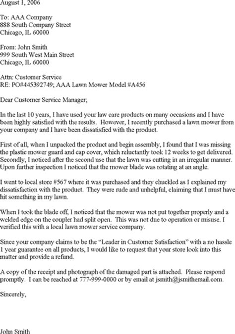 Exle Letter Of Customer Complaint Customer Complaint Letter Template Customer Complaints