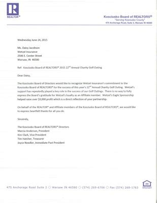 Insurance Agency Thank You Letter thank you letter from kosciusko board of realtors wetzel