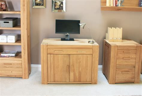 grand solid chunky oak furniture hidden home office pc