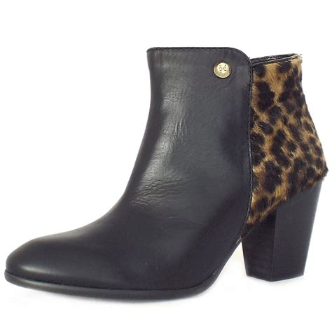 elysess san moritz black and leopard print ankle boots