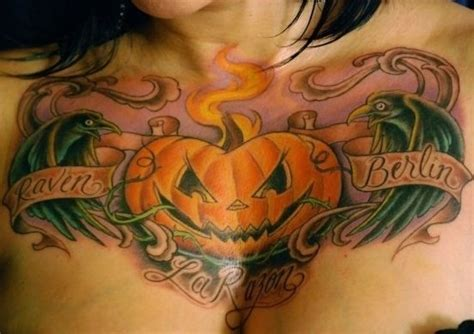 tattoo designs images corey miller pumpkin chest tattoos