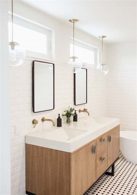 Pendant Lighting Bathroom Vanity Subway Walls Mirrors With Windows Above Contemporary Vanity Bathrooms