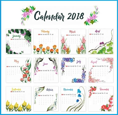 Printable Calendar 2018 Decorative | 2018 yearly printable calendar latest calendar