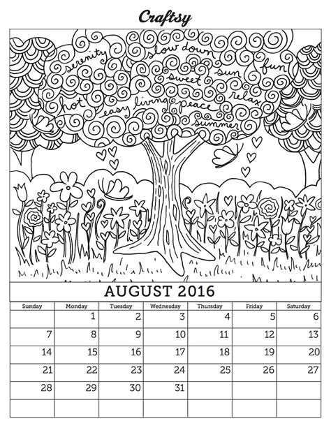 august 2016 calendar coloring page