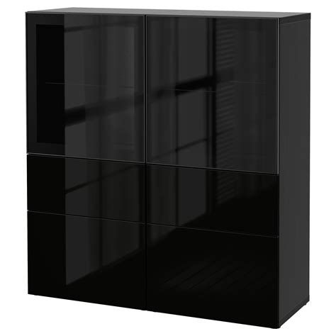 ikea besta glass doors best 197 storage combination w glass doors black brown