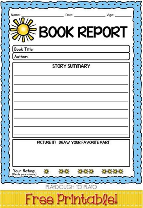 Free Book Report Templates For Kindergarten 75 Best Images About Book Report Ideas On