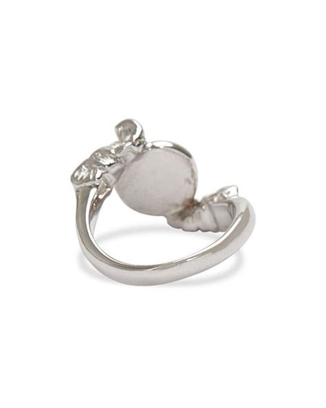 amrit jewelry white gold elephant ring in silver