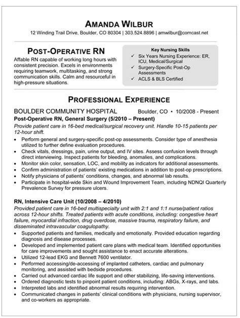 Resume Advice For Nurses Med Surg Rn Resume Sle Resume For Post Op I M