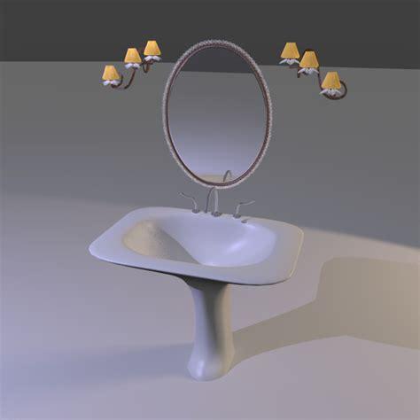 Pedestal Sink Mirror pedestal sink mirror ls 3d model obj 3ds blend cgtrader