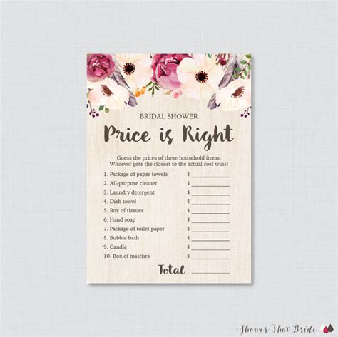 printable price is right bridal shower game boho bridal shower price is right game printable bohemian