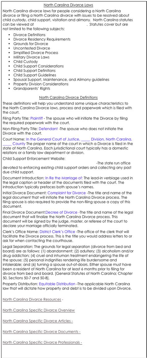 divorce from bed and board nc north carolina