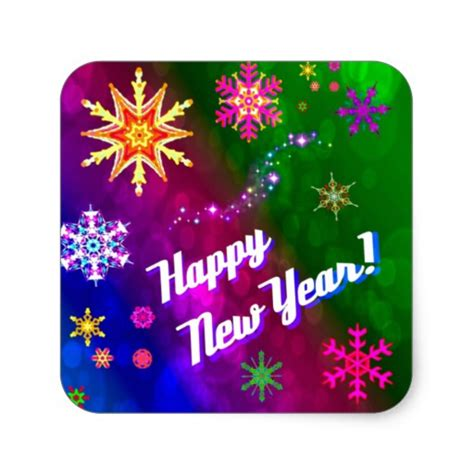 new year stickers colorful happy new happy year square sticker