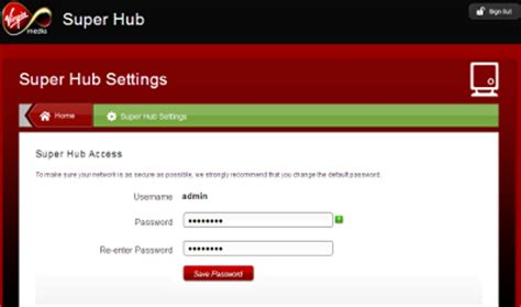 how to reset virgin media superhub username and password changing the router s settings page password