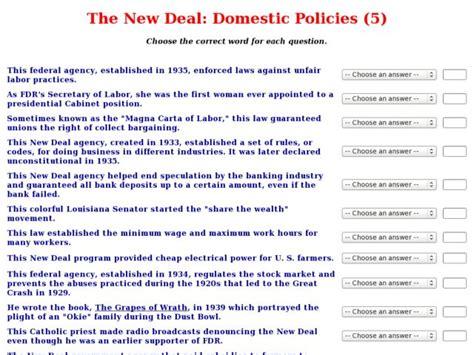 New Deal Worksheet the gallery for gt new deal programs worksheet