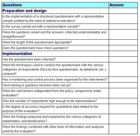 survey checklist template survey quality checklist better evaluation