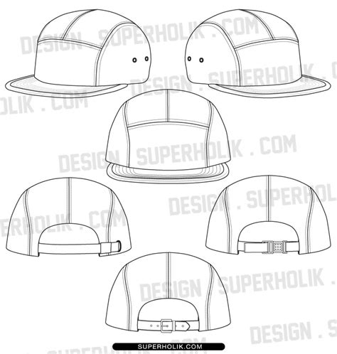 Fashion Design Templates Vector Illustrations And Clip Arts5 Panel Hat Template Fashion Hat Template