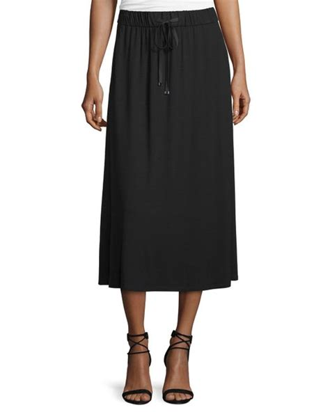 Drawstring A Line Skirt eileen fisher drawstring a line jersey skirt in black lyst