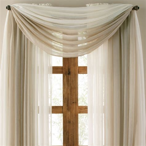 sheer curtain scarf ideas lisette sheer scarf valance jcp com courtains