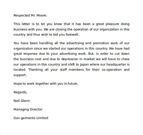business closing letter to partners letter for business closure letter of recommendation