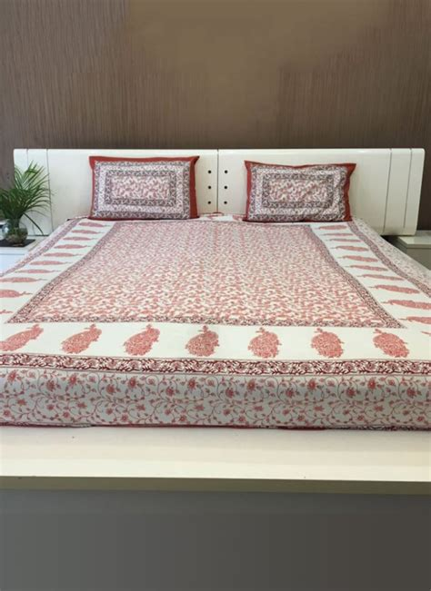 buy bed sheets buy white n maroon pure cotton bed sheet bed sheets