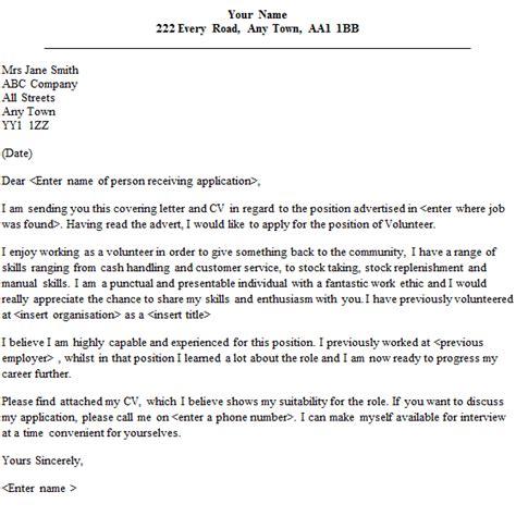 covering letter for volunteer work volunteer cover letter sle lettercv
