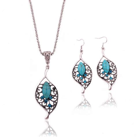 jewelry charming crystal tibetan silver turquoise leaf