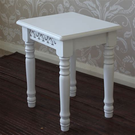 white shabby chic style dressing table stool