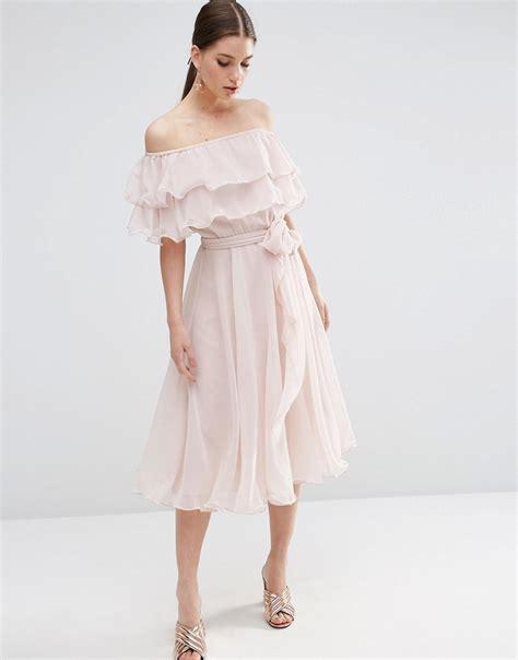 shoptagr asos bardot the shoulder multi ruffle midi prom dress by asos collection