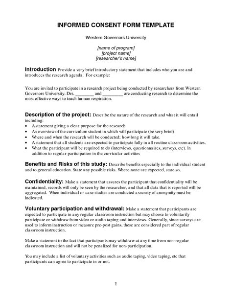 informed consent template informed consent template for research 28 images best
