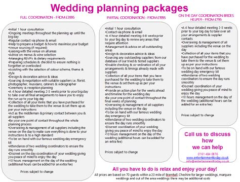 Wedding Planner Prices by Cheshire Wedding Planning Packages