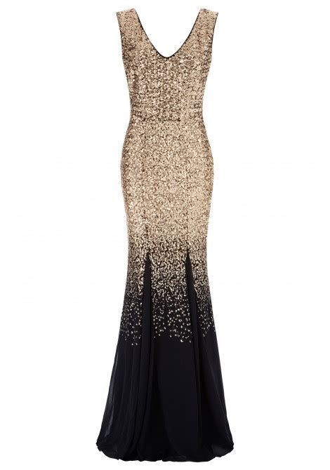 goddiva ombre sequin chiffon maxi dress in gold evening