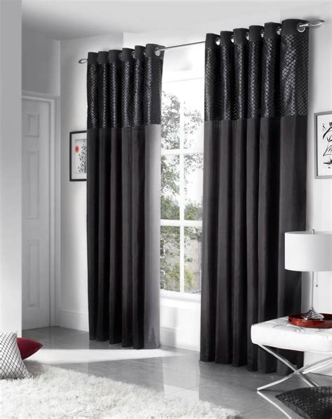 black and cream drapes savoy ready made eyelet curtains fully lined black
