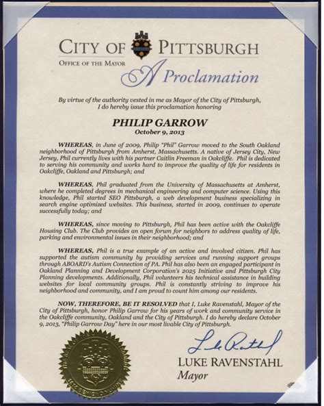 Wall Designer proclamation from the mayor 3219 us
