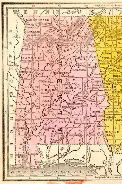 alabama state map 1851 alabama state map