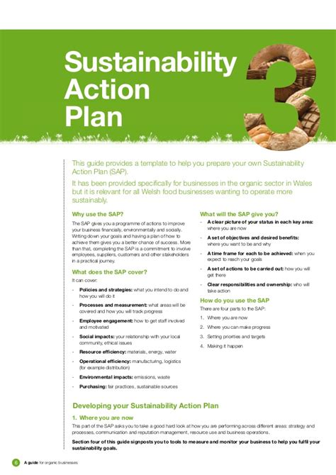 Sustainability Plan Template sustainability toolkit for organic businesses