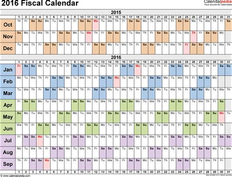 fiscal year calendar template fiscal calendars 2016 as free printable excel templates